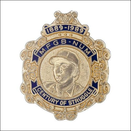 Greetings card of the enamel badge produced in 1989 to celebrate the centenary of the MFGB and the NUM.