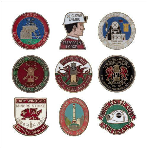 Greetings card of enamel badges from South Wales Area of the NUM.