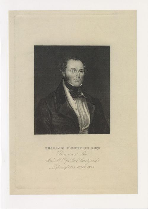 Greetings card of engraving of Feargus O'Connor.