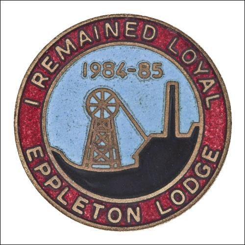 Greetings card of the enamel badge for those mebers of Eppleton Branch of the NUM who remained loyal during the 1984 to 1985 miners' strike.