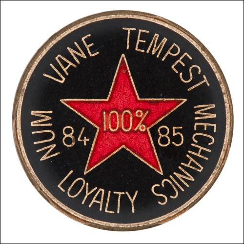 Greetings card of the enamel badge of Vane Tempest Mechanics who were loyal to their union throughout the miners' strike of 1984 to 1985.