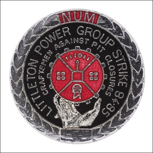 Greetings card of the enamel badge of the Littleton Power Group Craftsmen.