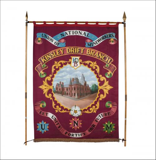 The front of the greetings card of the banner of Kinsley Drift Branch of the Yorkshire Area of the NUM.