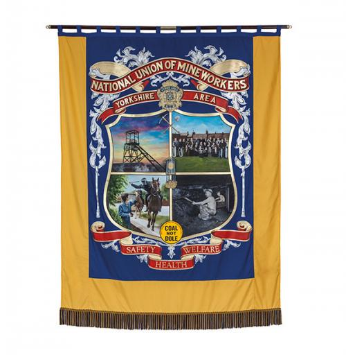 The front of the banner of Yorkshire Area of the NUM