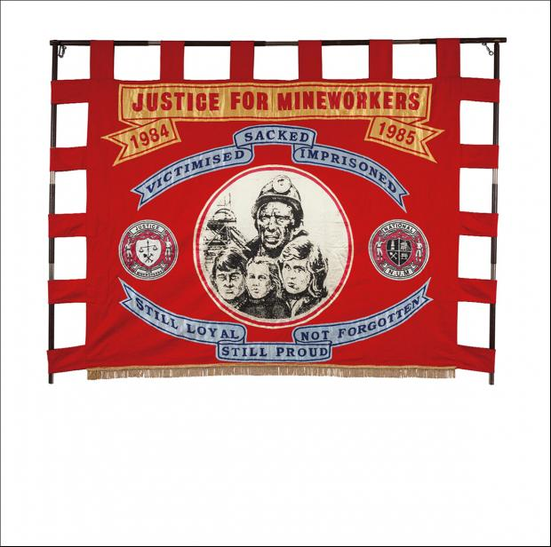 The front of the banner of the National Justice for Mineworkers Campaign