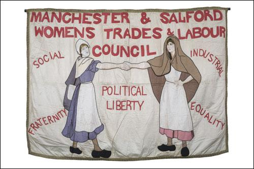 Postcard of the banner of the Manchester and salford Womens Trades and Labour Council.