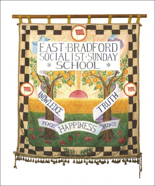 Postcard of the front of the banner of the East Bradford Socialist Sunday School.