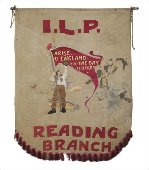 Postcard of the banner of the Reading Branch of the ILP.