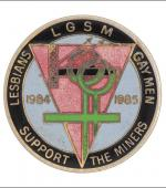 Greetings card of the enamel badge for lesbians and gay men support the miners.