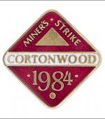 Greetings card of the enamel badge of Cortonwood Branch of the Yorkshire Area of the NUM.
