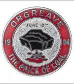 Greetings card of the enamel badge about the picket at Orgreave Coking Plant on 18th June 1984.
