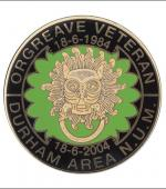 Greetings card of the enamel badge about the Orgreave veterans from the Durham Area of the NUM.