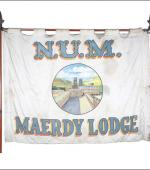 Greetings card of the front of the banner of Maerdy Lodge of the South wales Area of the NUM.