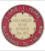 Greetings card of the enamel badge for members of Kellingley Branch of the Yorkshire Area of the NUM who maintained allegience throughout the 1984 to 1985 miners' strike.